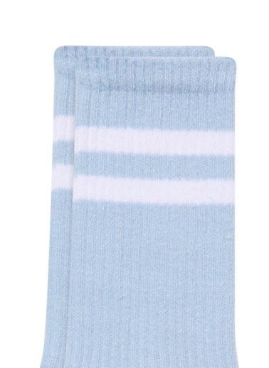 Mavi Bileği Çizgili Yeşil Soket Çorap Mavi